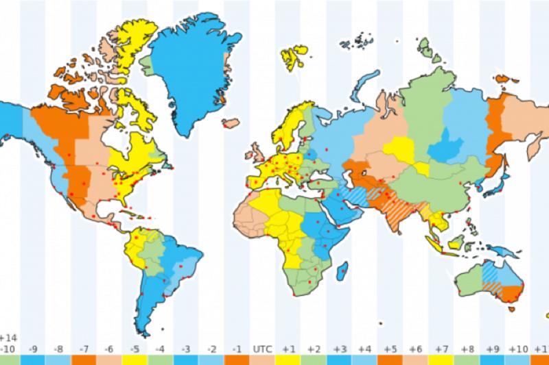 Fuso horário África do Sul x Brasil - Mapa