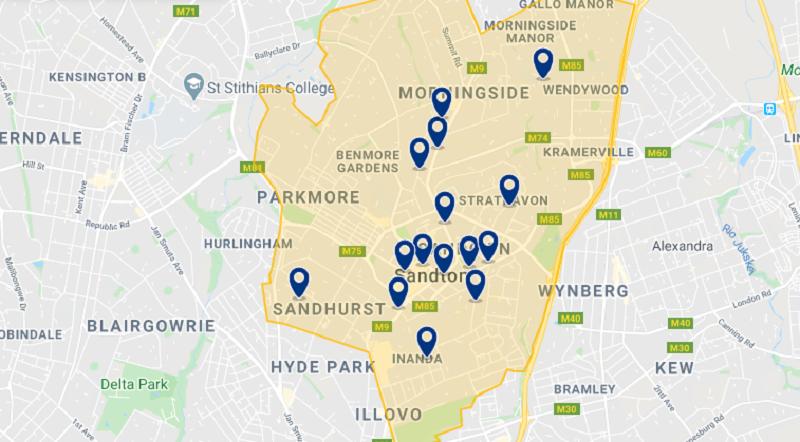 Mapa da melhor região para ficar em Joanesburgo: Sandton