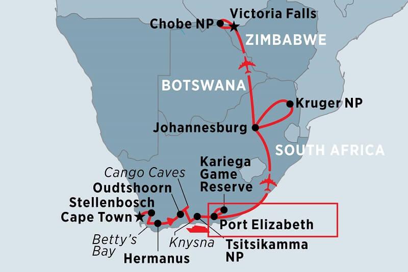 Port Elizabeth na África do Sul - Mapa