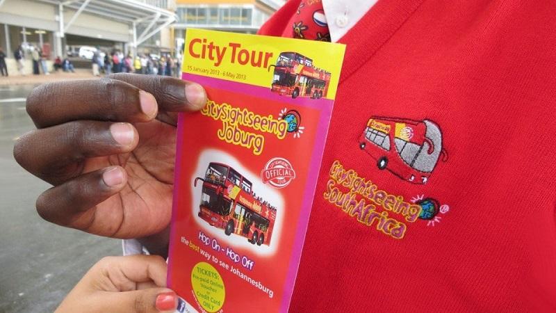 Folheto de ônibus turístico em Joanesburgo