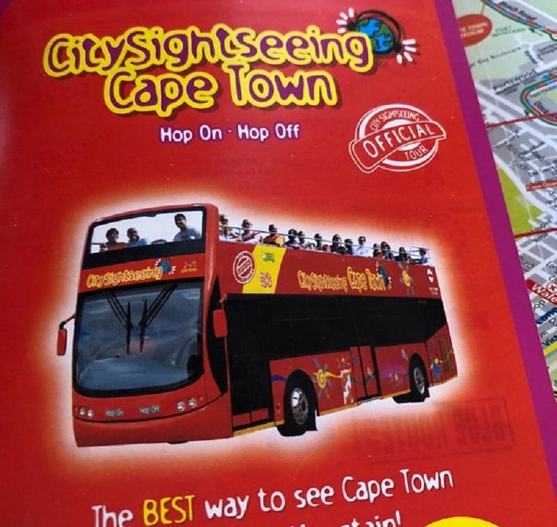 Folheto de ônibus turístico na Cidade do Cabo