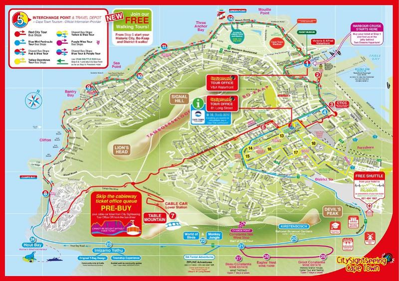 Mapa de Hop on Hop Off na Cidade do Cabo