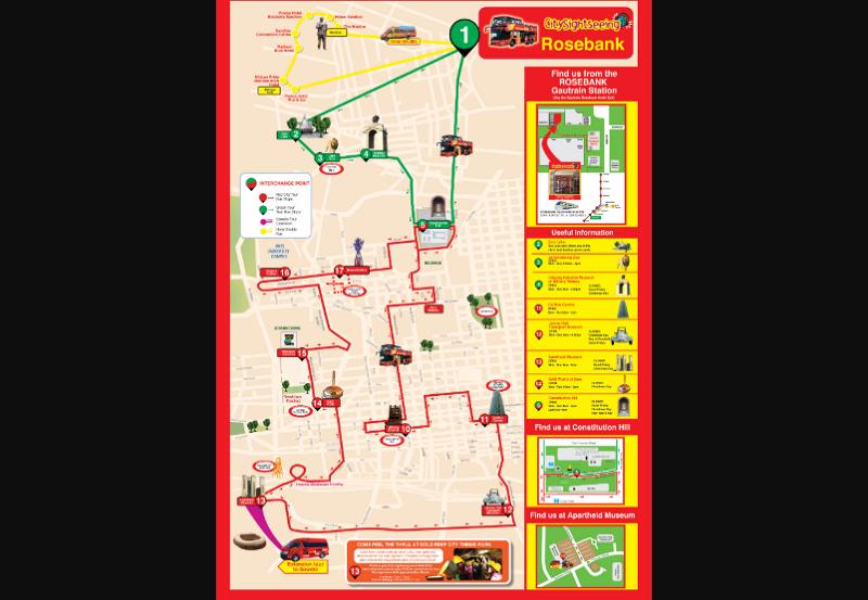 Ônibus turístico em Joanesburgo - Mapa