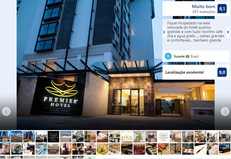 Fachada do Premier Hotel Cape Town na Cidade do Cabo