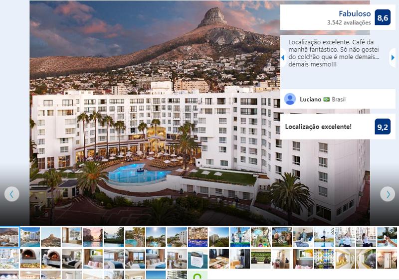 Fachada do President Hotel na Cidade do Cabo