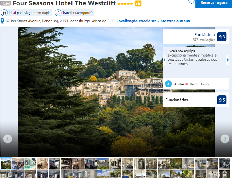 Fachada do Four Seasons Hotel The Westcliff em Joanesburgo