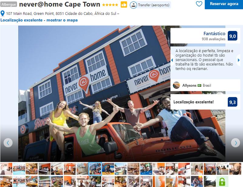 Fachada do hostel never@home Cape Town na Cidade do Cabo
