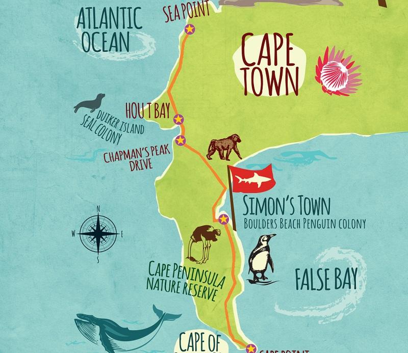 Boulders Beach na Cidade do Cabo - Mapa