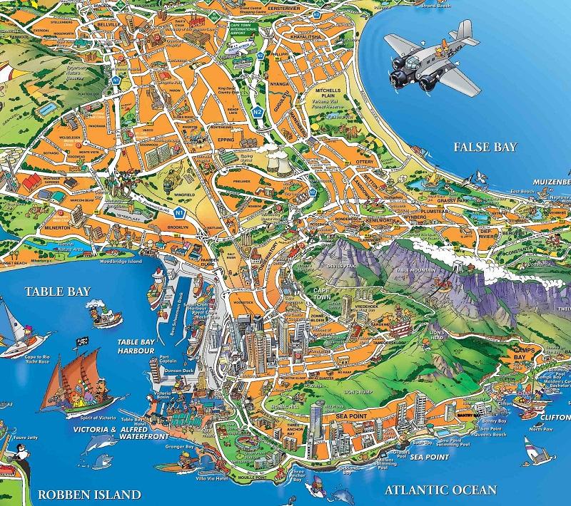 Mapa turístico da Cidade do Cabo
