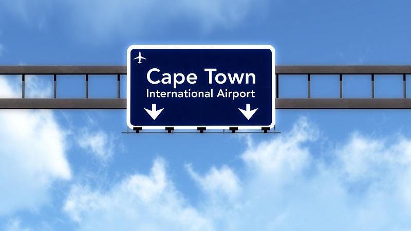 Placa indicando o Aeroporto da Cidade do Cabo