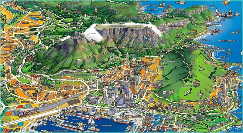 Mapa do Parque Nacional Montanha da Mesa na Cidade do Cabo