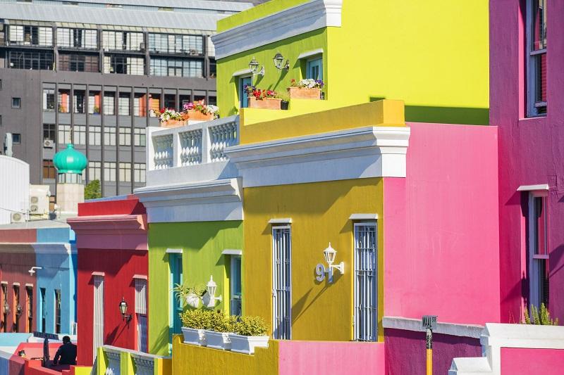 Casas coloridas de Bo Kaap na Cidade do Cabo