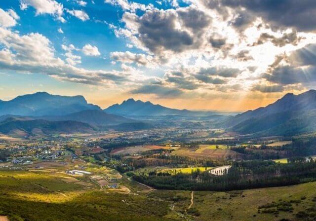 Vinícolas de Franschhoek nas proximidades da Cidade do Cabo