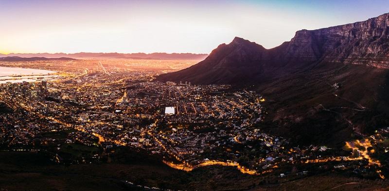 Noite em Lion's Head na Cidade do Cabo