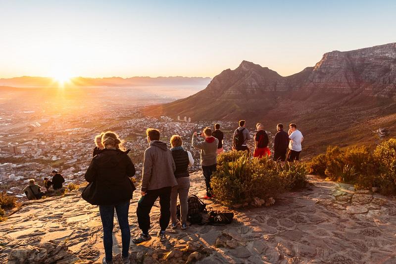 Pôr do sol em Lion's Head na Cidade do Cabo