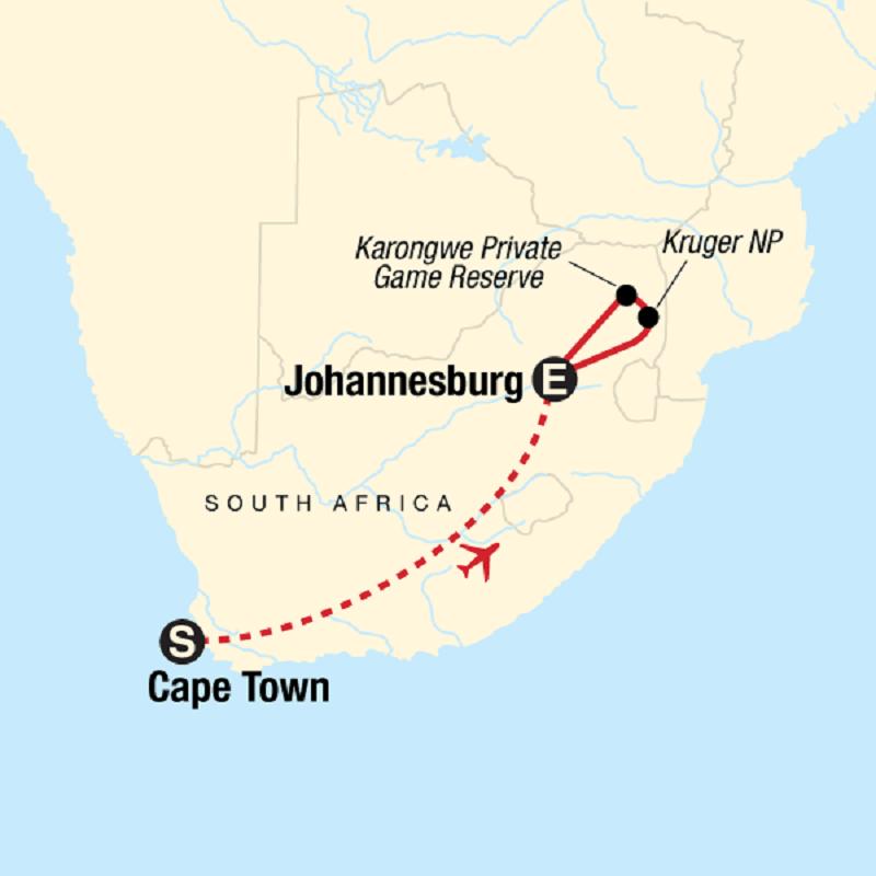 Parque Nacional Kruger nas proximidades de Joanesburgo - Mapa
