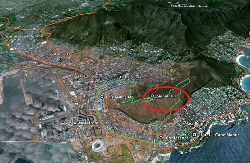 Signal Hill na Cidade do Cabo - Mapa