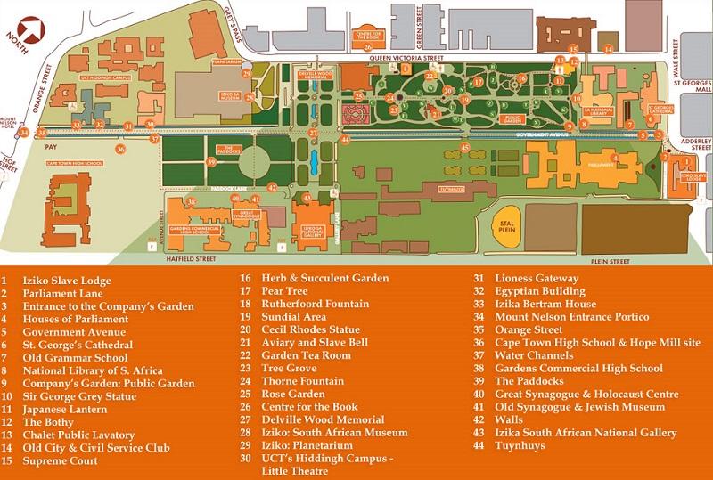 Mapa com as atrações do The Company's Garden na Cidade do Cabo