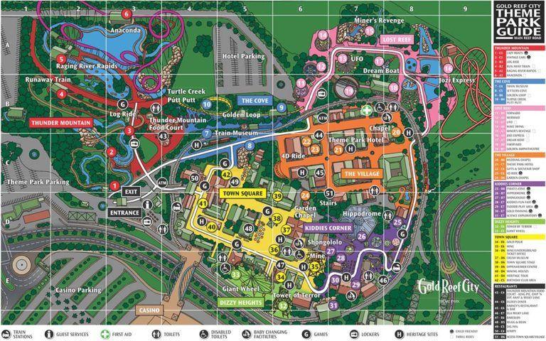 Mapa do Gold Reef City em Joanesburgo