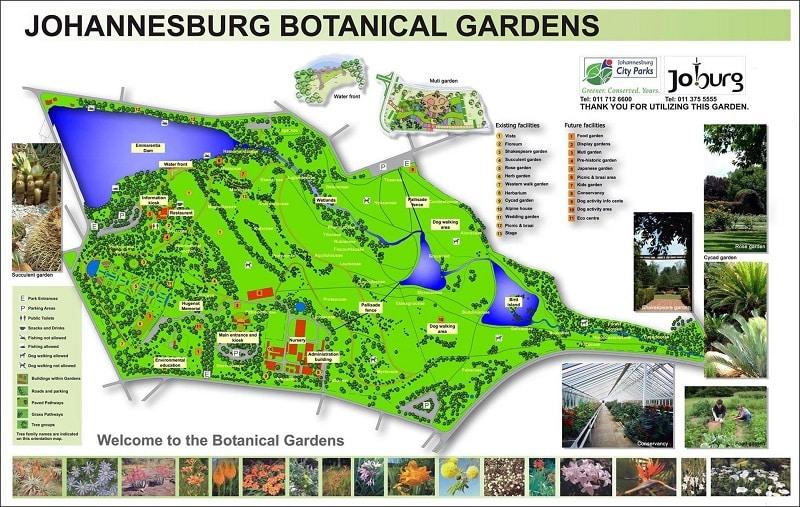 Jardim Botânico de Joanesburgo - Mapa