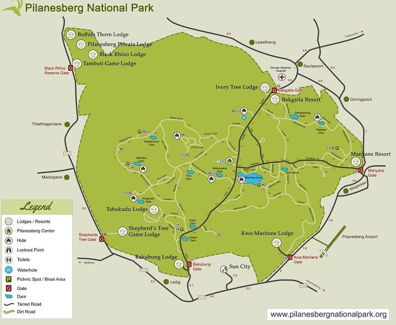 Mapa do Pilanesberg National Park