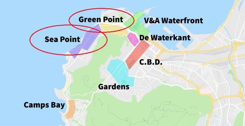Mapa: Sea Point e Green Point