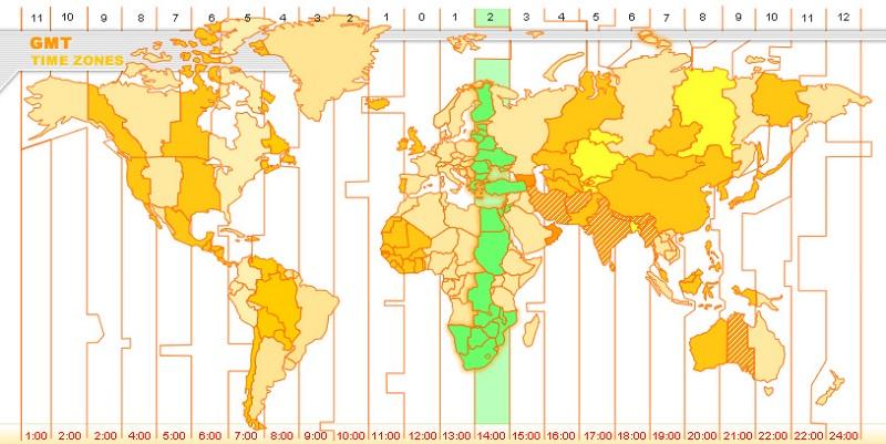 Fuso horário de Pretória - Mapa