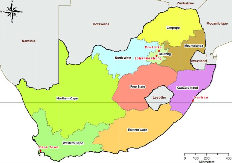Mapa com as cidades da África do Sul