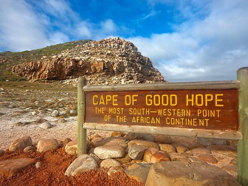 Foto na placa de Cabo da Boa Esperança - Cidade do Cabo