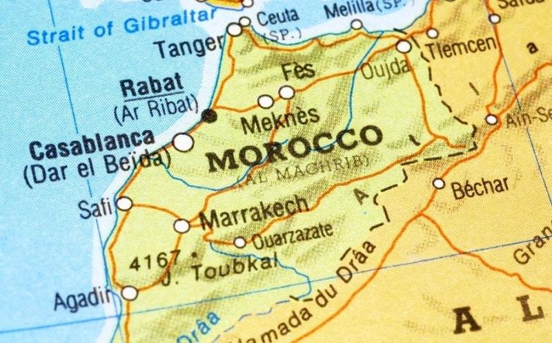 Mapa da localização de Marrocos